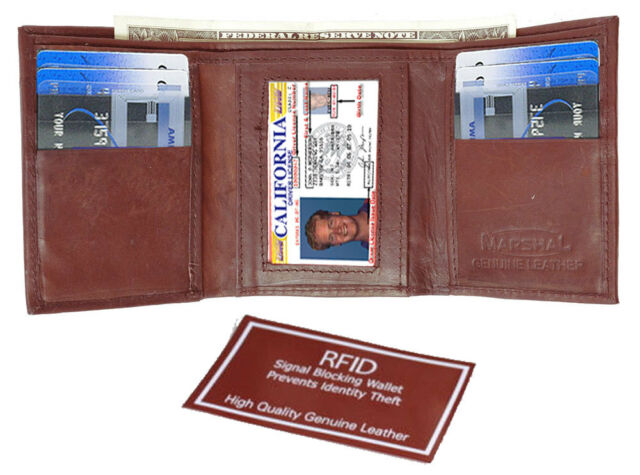 Burgundy RFID Scan Blocking Men's Leather Trifold Thin Wallet Front Pocket