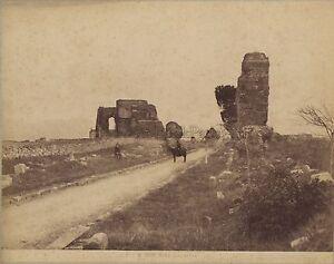 Roma via Appia Alinari Italia Vintage Albumina Ca 1880