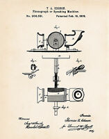 1878 Thomas Edison Phonograph Speaking Machine Patent Art Print Drawing Vintage