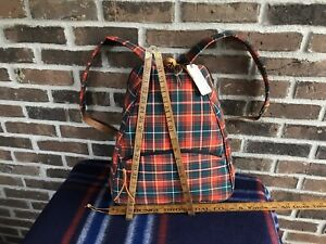 RARE-VINTAGE-WOMEN-039-S-1990s-CZECH-RED-TARTAN-LEATHER-RUCKSACK-BACKPACK-BAG-R-148