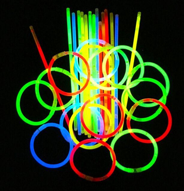 300pc Premium 8 Glow Sticks Necklace Bracelets Party Rave Festival Favors Bulk