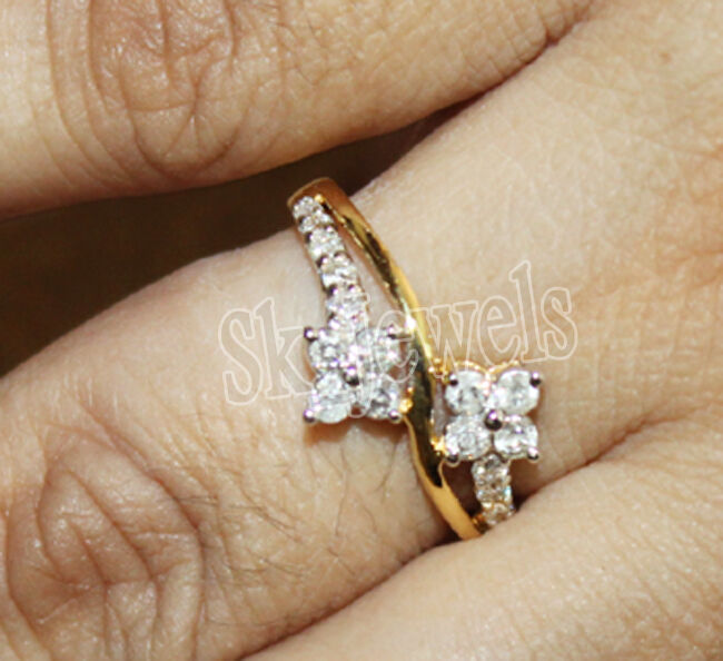 0.54ctw NATURAL ROUND DIAMOND 14K SOLID YELLOW gold CLUSTER RING IN SIZE 7 TO 9