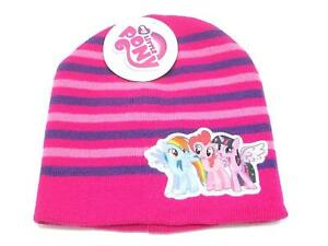d9acdf8b3 My Little Pony Youth Girl's Knit Beanie Hat Pink Purple Stripe One ...