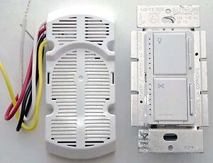Lutron-CM-L300FQ1-Canopy-Module-amp-MA-LFQ35-Fan-Wall-Light-Switch-Combo-WHITE