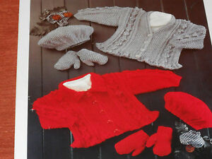 Child-039-s-Aran-Cardigans-Beret-and-Mittens-size-16-to26-knitting-pattern