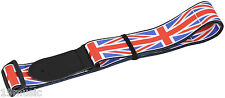 (1514) Union Jack Tracolla chitarra in pelle testa 19 Music UK Flag BASS British