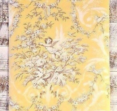 Traditional Victorian Vintage Cherub & Floral Yellow white grey tan Wallpaper