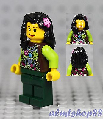 Girl Minifigure w// Pink Blouse Necklace Black Flower Hair Kids Female LEGO