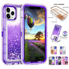 For iPhone 11,Pro, Max Defender Glitter Liquid Quicksand Bling Case Phone Cover