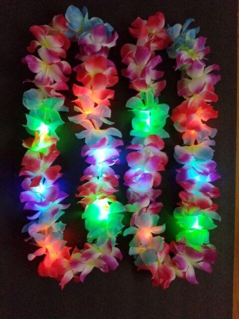 12 Hawaiian Lei Led Light Up Flashing