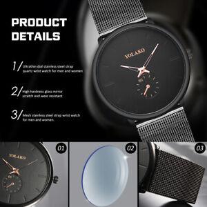 Men-Women-039-s-Fashion-Design-Simple-Mesh-Ultra-Thin-Quartz-Wrist-Watch-Watches-Hot