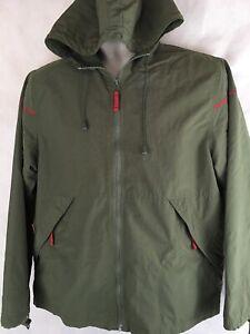 Stunt-Sports-Windbreaker-Size-M-Green-Full-Zip-Hooded-Nylon-Jacket