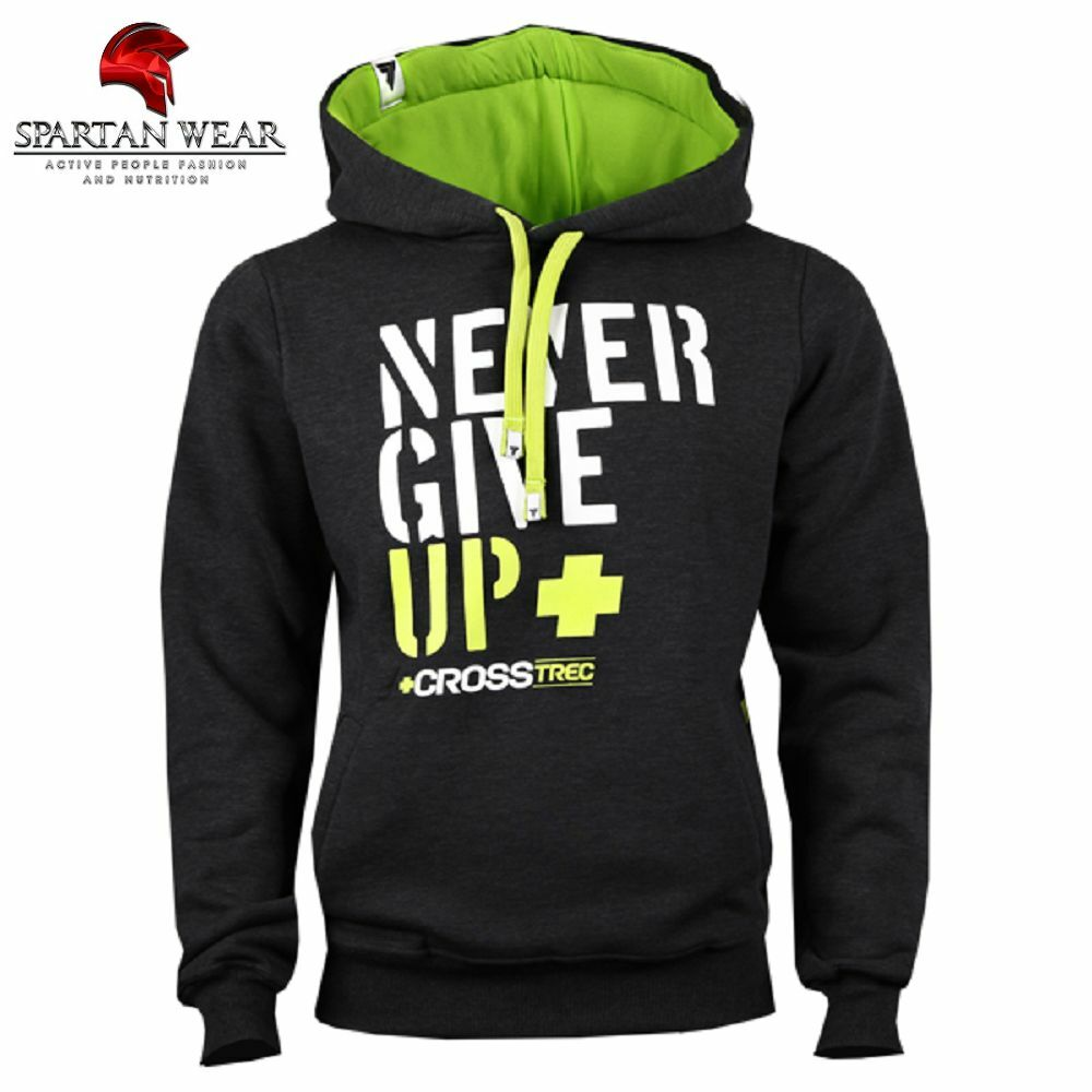 TREC WEAR HOODIE 033 NEVER GIVE UP GRAPHITE bluese