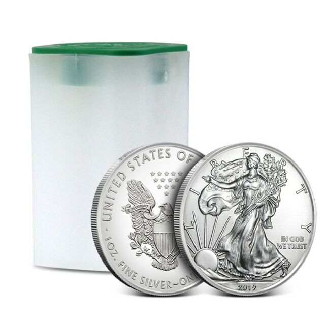 2019 American 1 Oz Silver Eagle - Lot of 20 BU Coins in U.S. Mint Tube / Roll
