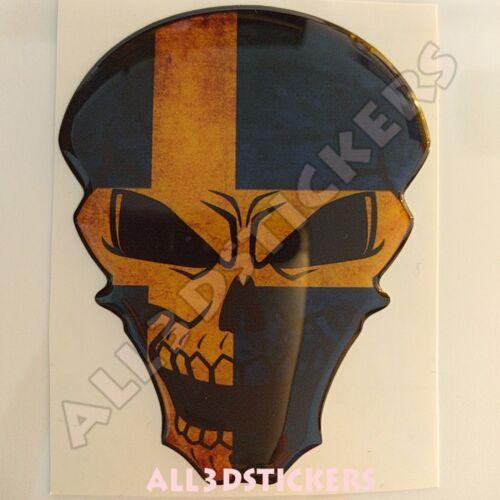 Sticker Flag Sweden Skull Adhesive Decal Resin Domed Car Moto Tablet Laptop 3D
