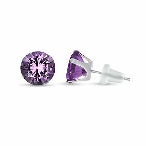 Round-Genuine-Purple-Amethyst-10K-White-Gold-Stud-Earrings-Choose-Your-Size
