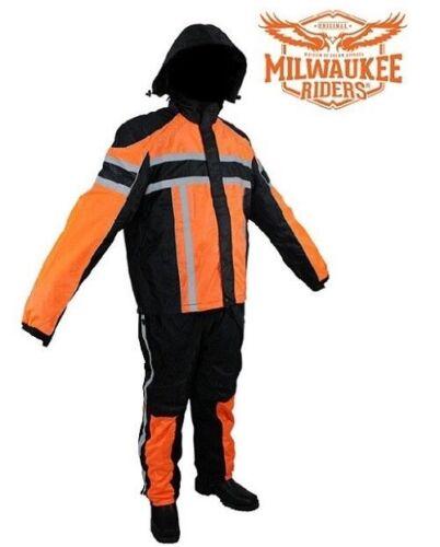 Black//Orange Motorcycle Textile Two-Piece Rain Suit By Milwaukee Riders®