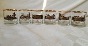 Galaxy-Railroad-Old-Fashioned-Glasses-Gold-Train-Steam-Engines-Rocks-Set-of-6
