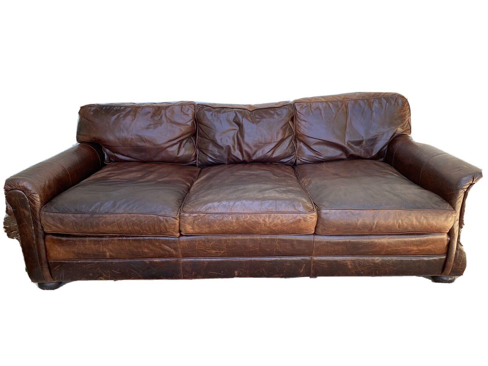 Restoration Hardware Original Lancaster Leather Sofa For Sale Online