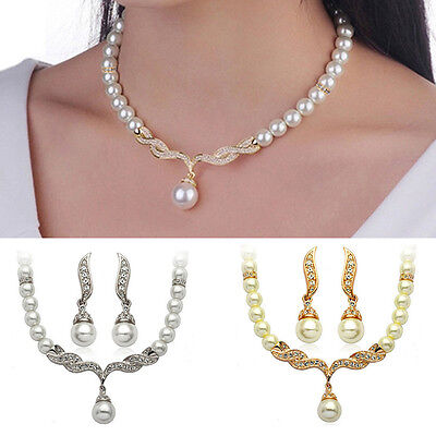 Women Wedding Bridal Crystal Pearl Rhinestone Necklace Earrings Jewelry Set IM