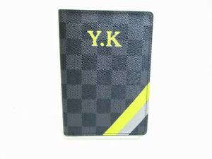f92b4fa4b3634 Image is loading Auth-LOUIS-VUITTON-Mon-Damier-Graphite-Leather-Passport-