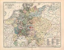 Deutschland  nach Westfälischer Friede 1648 Geschichtskarte Landkarte v. 1894