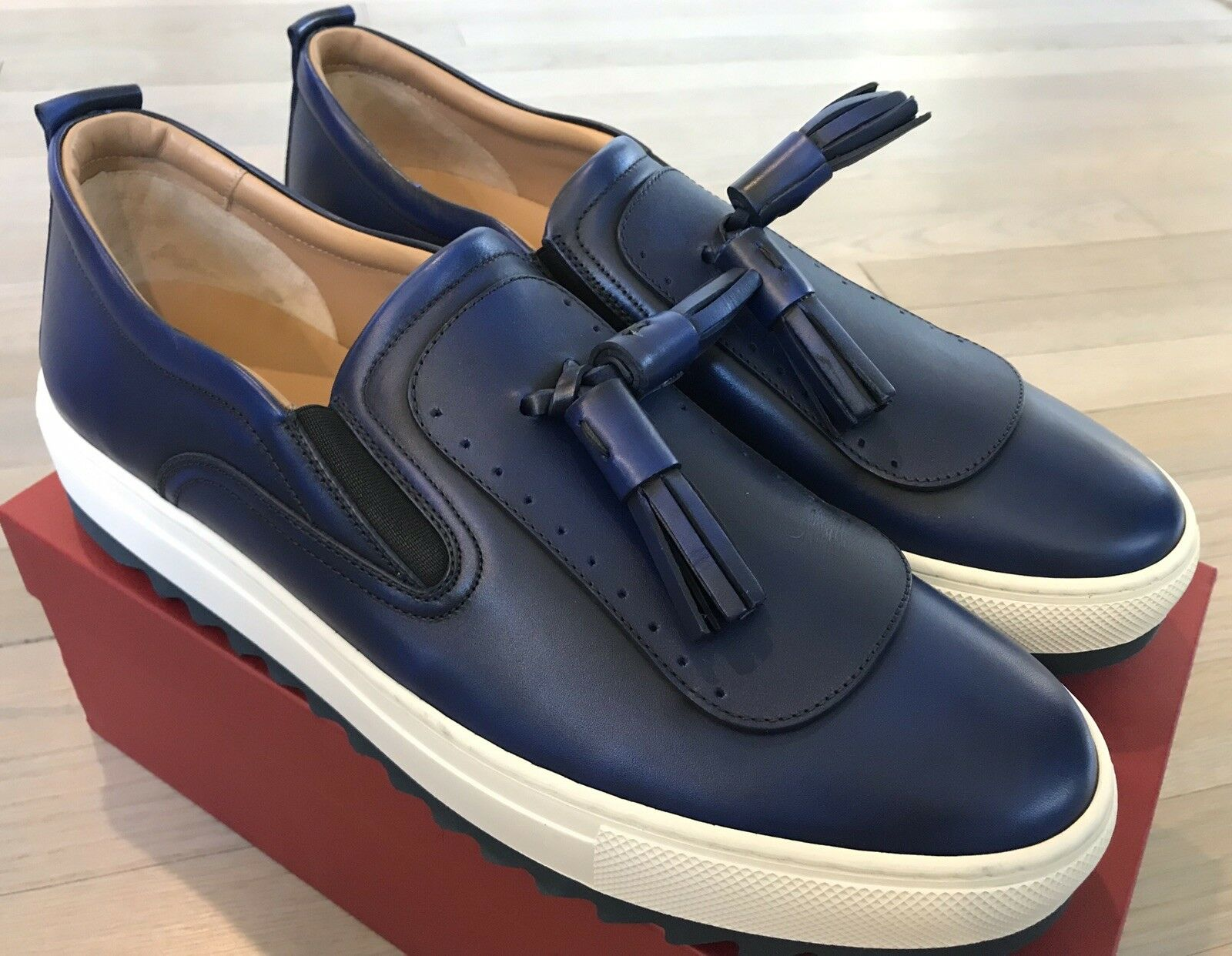 600  Salvatore Ferragamo Lucca Royal bluee Slip Ons Size US 10.5 Made in