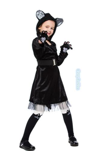 F4-4 Girls Black Cat Animal Pet Halloween Book Week Day Costume Ears Tail