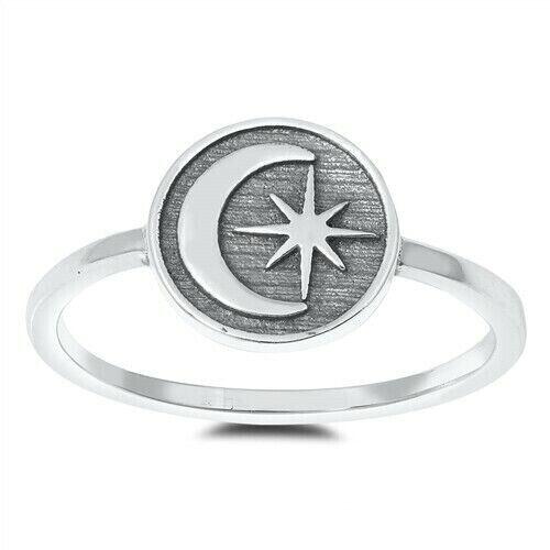 Sun /& Moon Ring Véritable Argent Sterling 925 Oxydé Sélectionnable face hauteur 9 mm