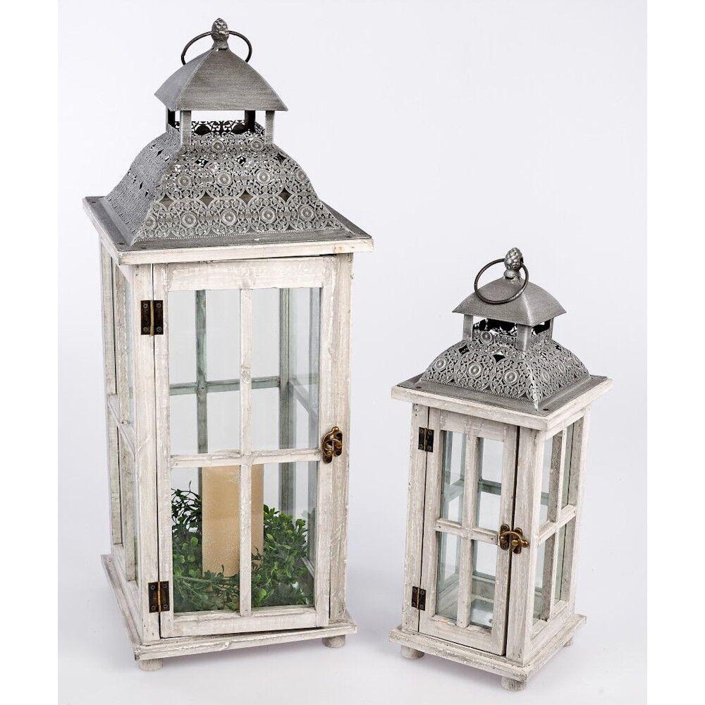 659224 lanterne lanterne lanterne in legno Set 2tlg. legno-Grigio-argentoo con tetto di metallo e porta artistico d25363