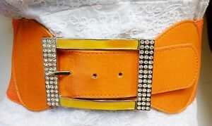 Ladies Waist Elastic Orange Wide Belt W/ Rhinestones Square Buckle S M L
