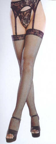 STOCKINGS FISHNET BLACK LACE TOP