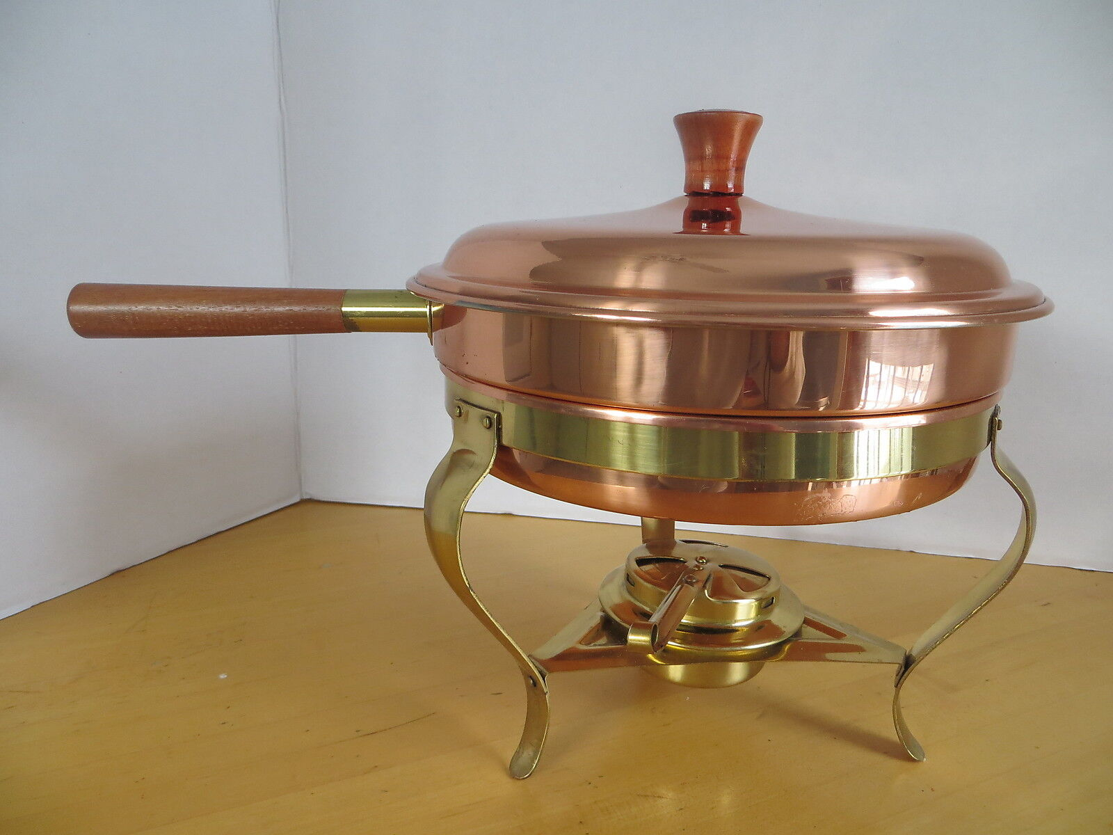 Tagus 9  Copper Clad SS Pan Brass Stand and Burner & Double Boiler Pan Portugal