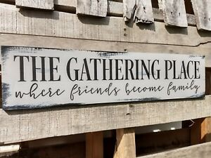 24-034-Large-FARMHOUSE-wood-sign-THE-GATHERING-PLACE-kitchen-rustic-wood-sign