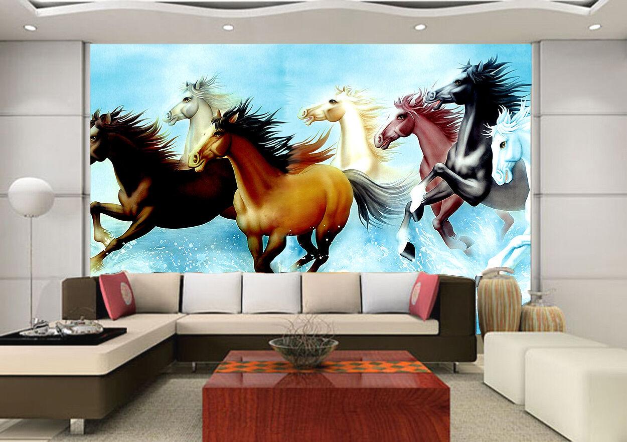 3D 8 Running Horses 208 Wall Paper Wall Print Decal Wall Deco Wall Indoor Murals
