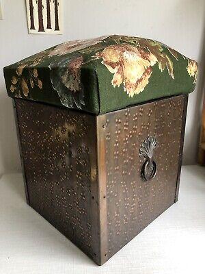 Antico Vintage Hand Battuti In Rame Rivestito In Tessuto Fireside Log & Carbone Seat Box-