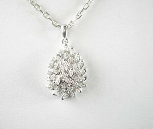 beeindruckende-585er-Gold-Halskette-amp-Anhaenger-Diamantsplitter-14K-Weissgold-7-0g