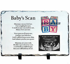 BABY SCAN PHOTO PLAQUE MADE FROM NATURAL ROCK SLATE ON DISPLAY STAND