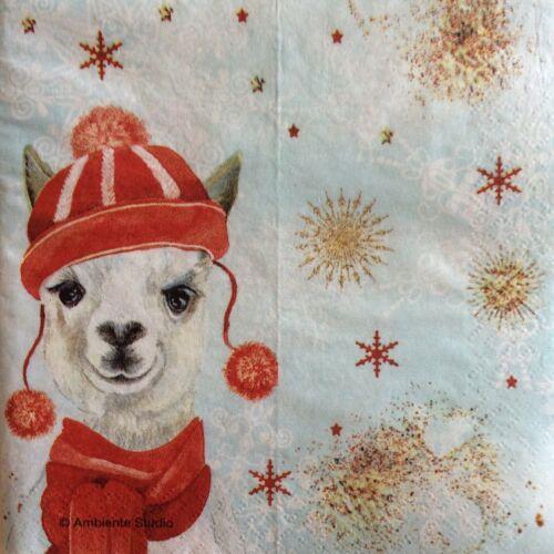 Serviettes en papier découpage X 2 Noël Lama 21 cm