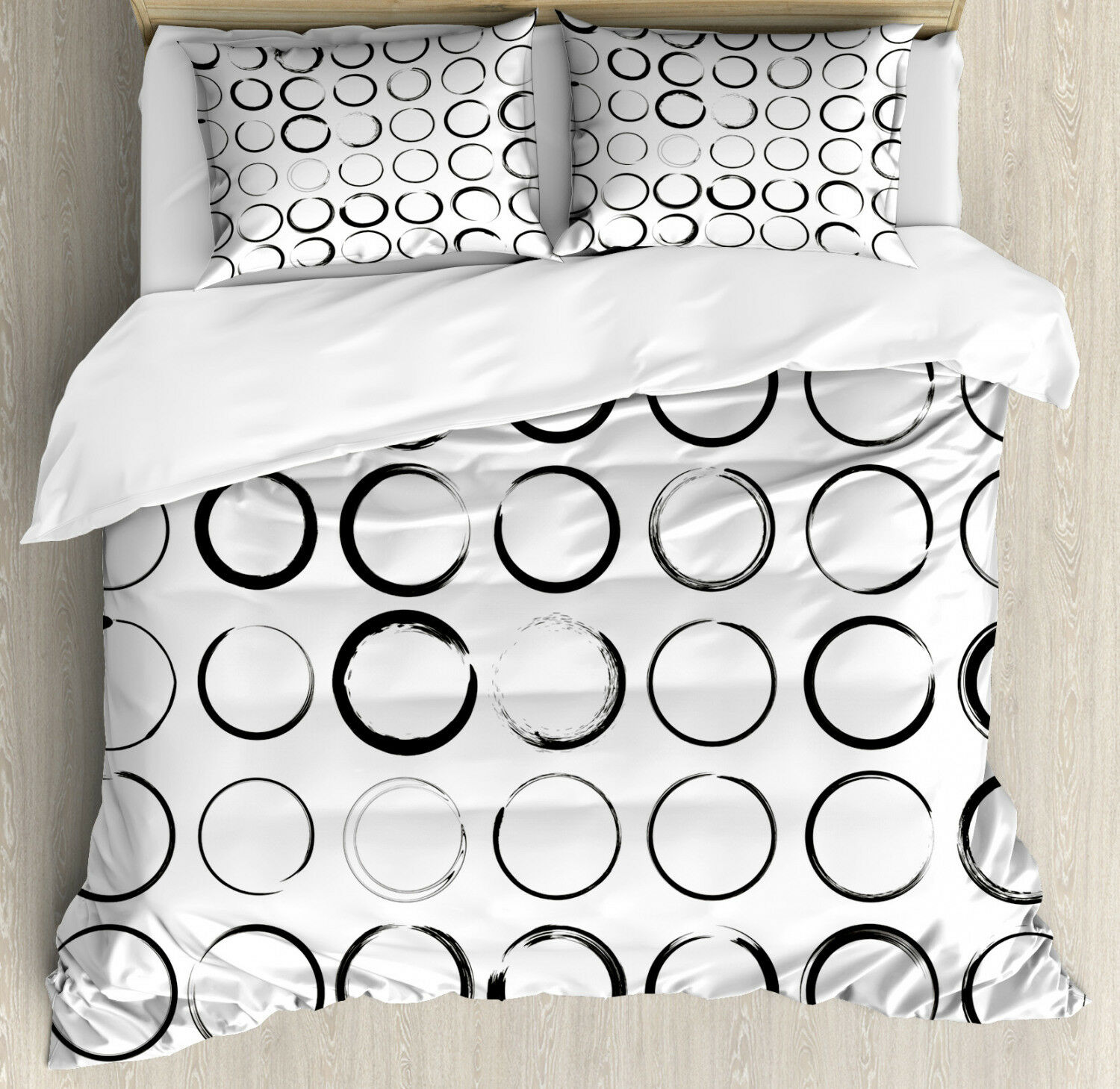 Grungy Duvet Cover Set with Pillow Shams Circle Brush Stroke Print