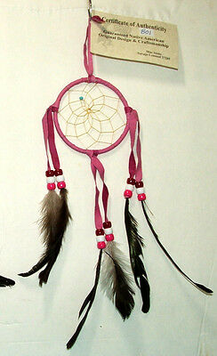 "3"" hoop Dreamcatcher Authentic Native American Pink FREE SHIPPING #801"