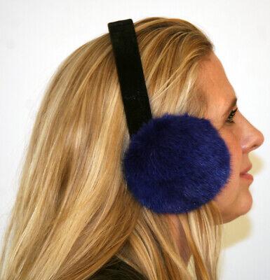 New Dyed Blue Fox Fur Earmuffs Efurs4less