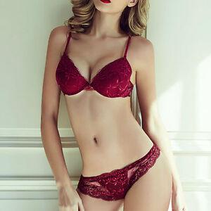 86486e1b33 Womens Lace Bra Set Deep V Push Up Bras Plunge Padded Underwire ...