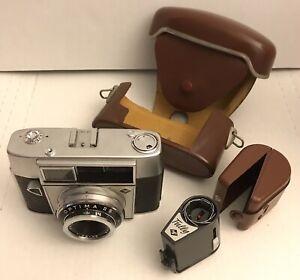 Agfa-Optima-IIS-35mm-Film-Kamera-Prontormator-f-2-8-45mm-Objektiv-mit-Tully-Blitz-Lot