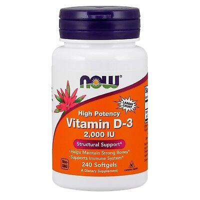NOW® Vitamin D-3, 2000 IU, 240 Softgels