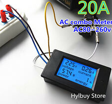 Home AC 20A Power Meters Monitor Volt Amp kWh Watt Digital LCD LED Combo Meter