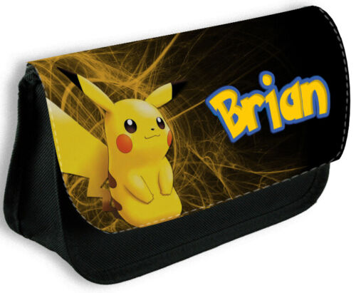 Personalised Boys Black Pencil Case Any Name Pikachu Bag School Kids Stationary