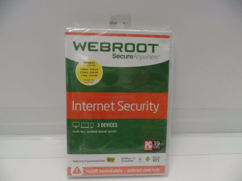 Webroot SecureAnywhere Internet Security 2017 for 3 Devices 1 year Subscription