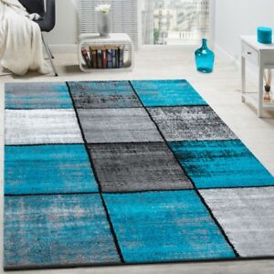 designer teppich modern kurzflor karos speziell meliert grau schwarz t rkis ebay. Black Bedroom Furniture Sets. Home Design Ideas