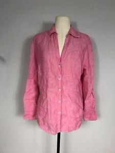 346 Brooks Brothers Pink 100% Linen Long Sleeve Button Front Shirt Women's 12